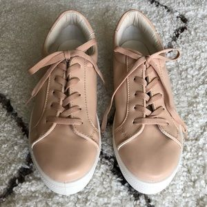 NWOT Topshop Faux Leather Sneakers In Blush